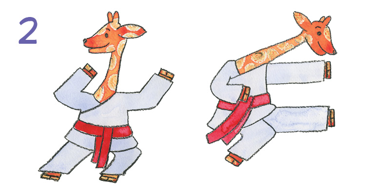 2 Giraffes doing Karate