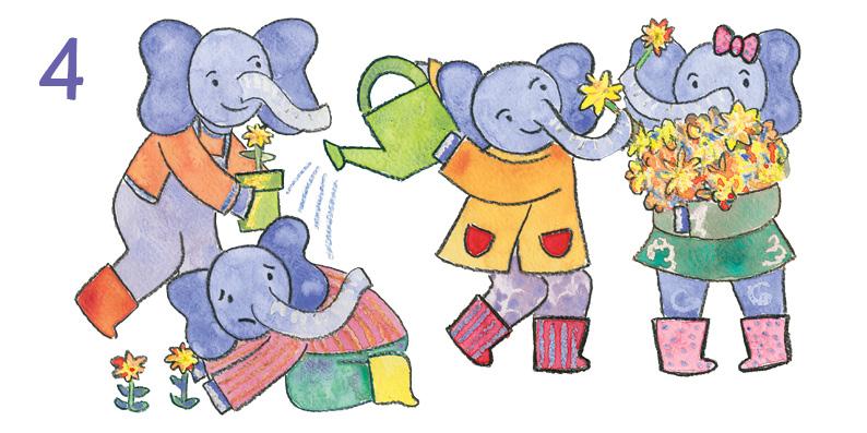 4 Elephants Gardening