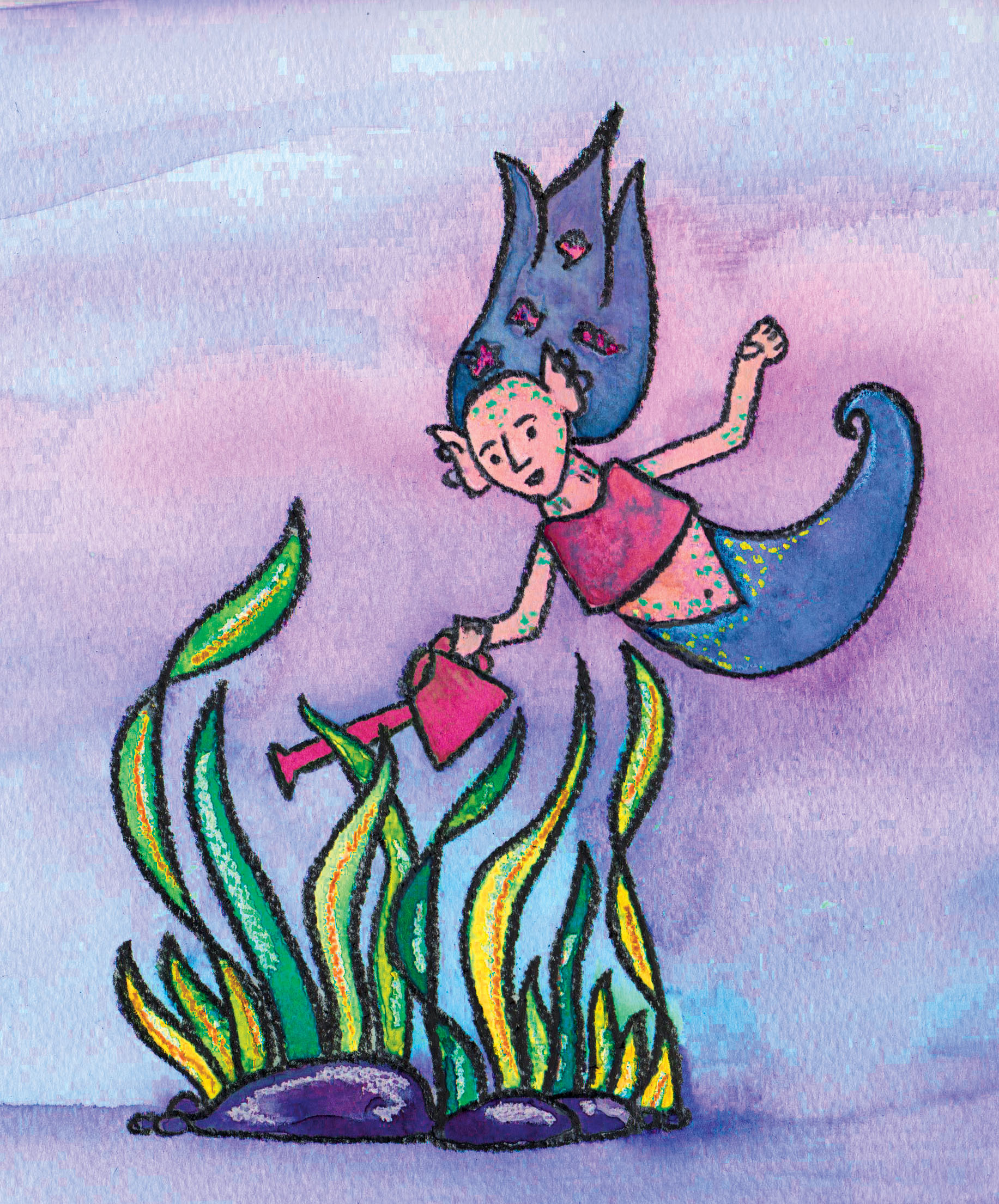 Mermaid watering